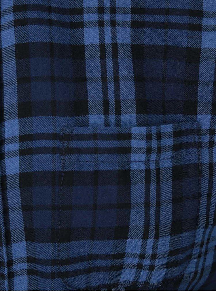 Modro-čierna kockovaná košeľa Jack & Jones Rikki