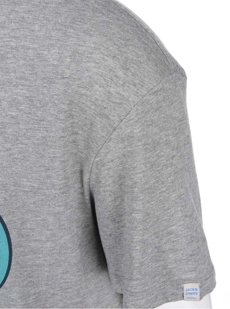 Šedé žíhané triko Jack & Jones Circle