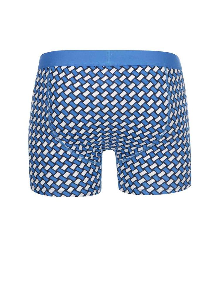 Bielo-modré vzorované boxerky Happy Socks Big Basker