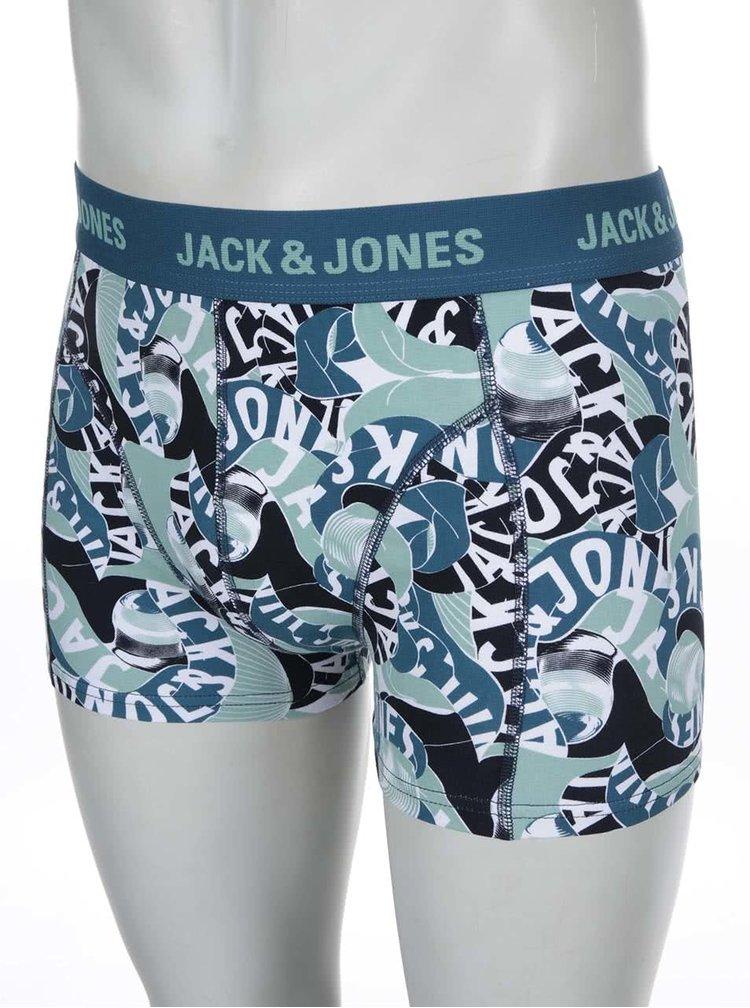 Zeleno-modré vzorované boxerky Jack & Jones Brooklyn