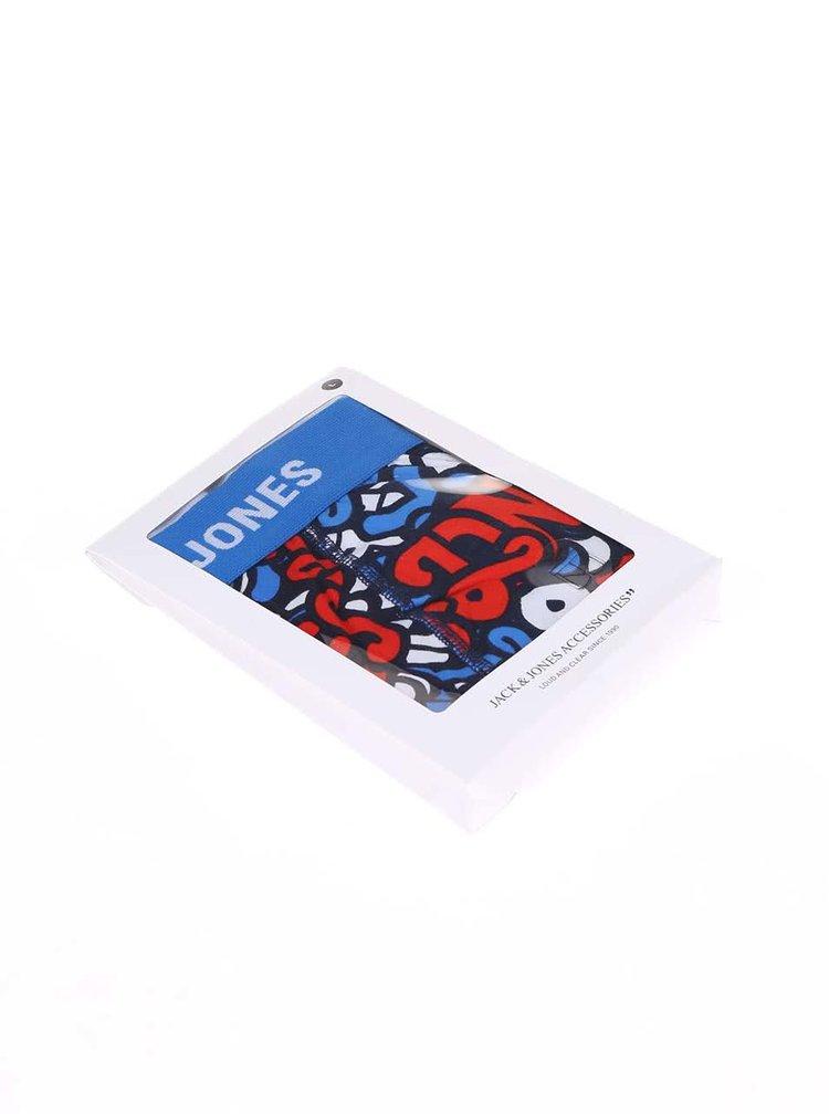 Boxeri albastri cu imprimeu rosu Jack & Jones Brooklyn