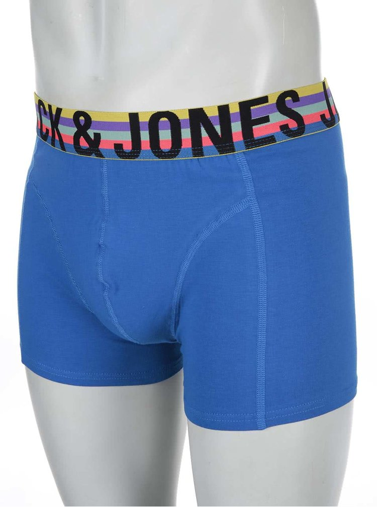 Modré boxerky s farebným lemom Jack & Jones Mix
