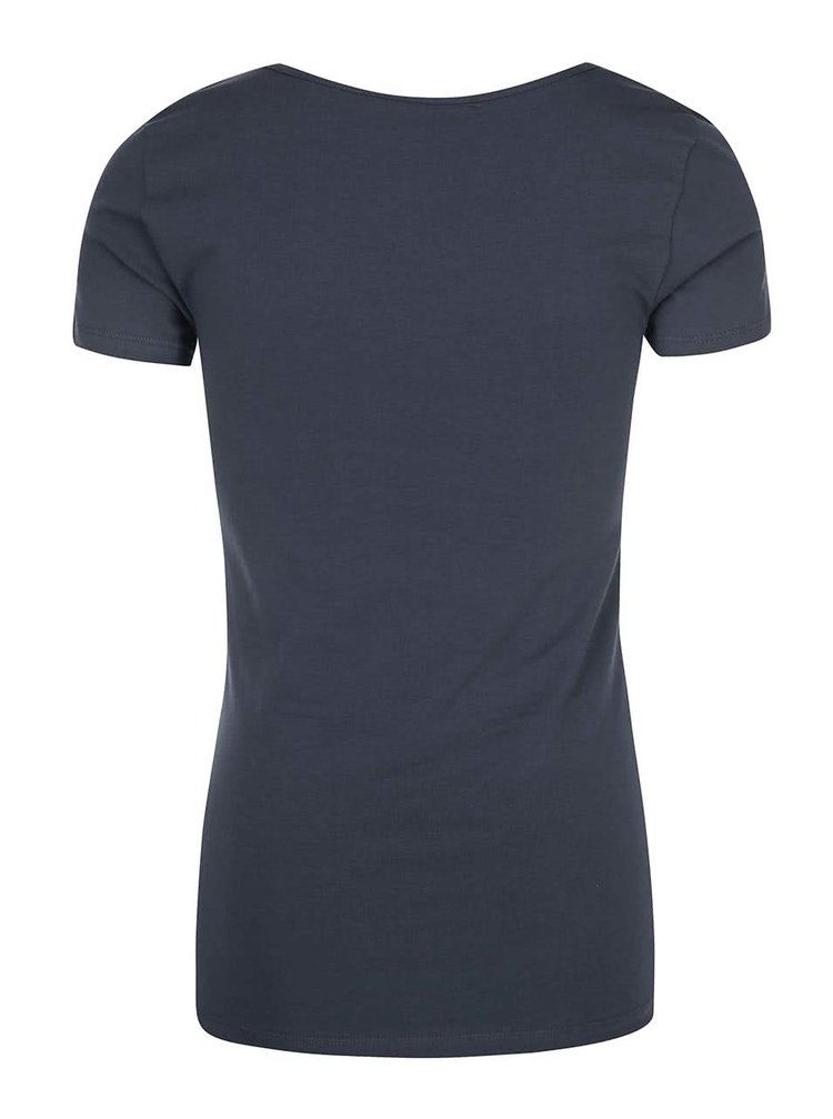Šedomodré basic tričko s krátkým rukávem VERO MODA Maxi My