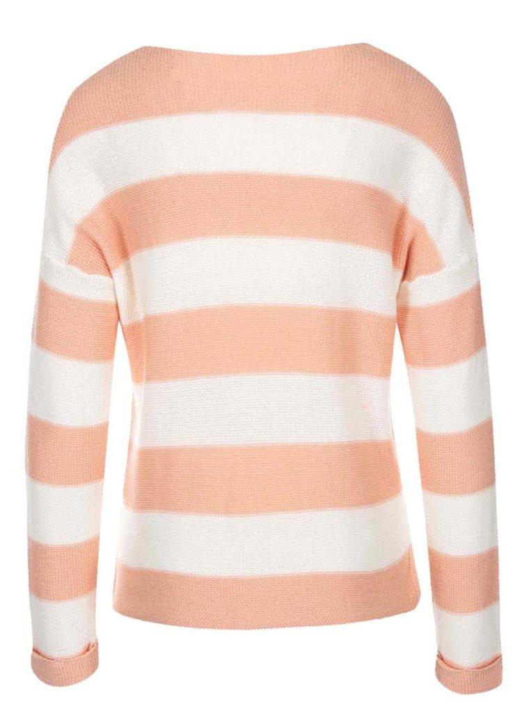 Koralový pruhovaný sveter VILA Snip
