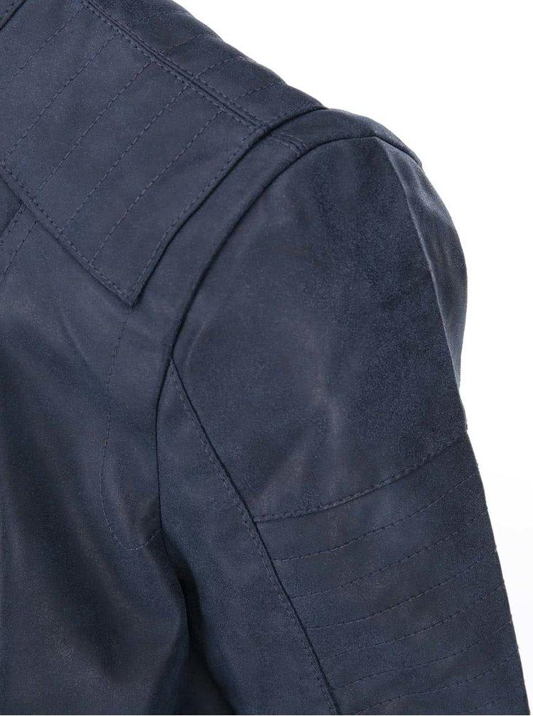 Modrá kratšia koženková bunda ONLY Biker