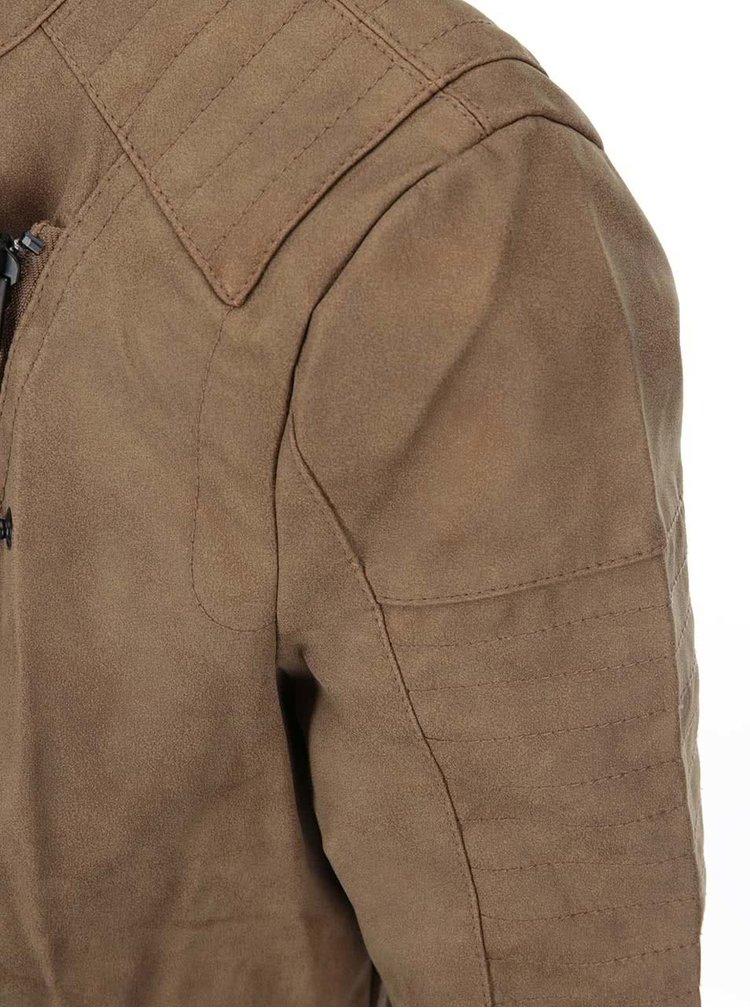 Hnedá koženková bunda ONLY