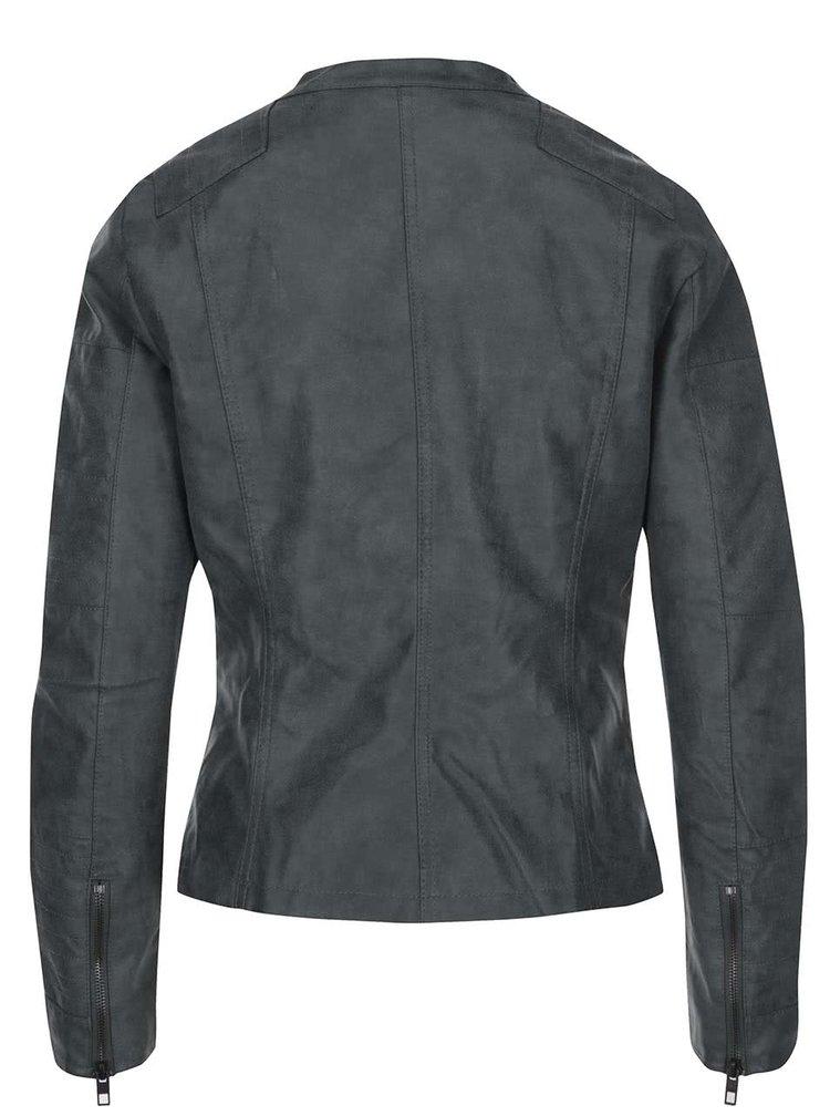 Zelenošedá kratší koženková bunda ONLY Biker