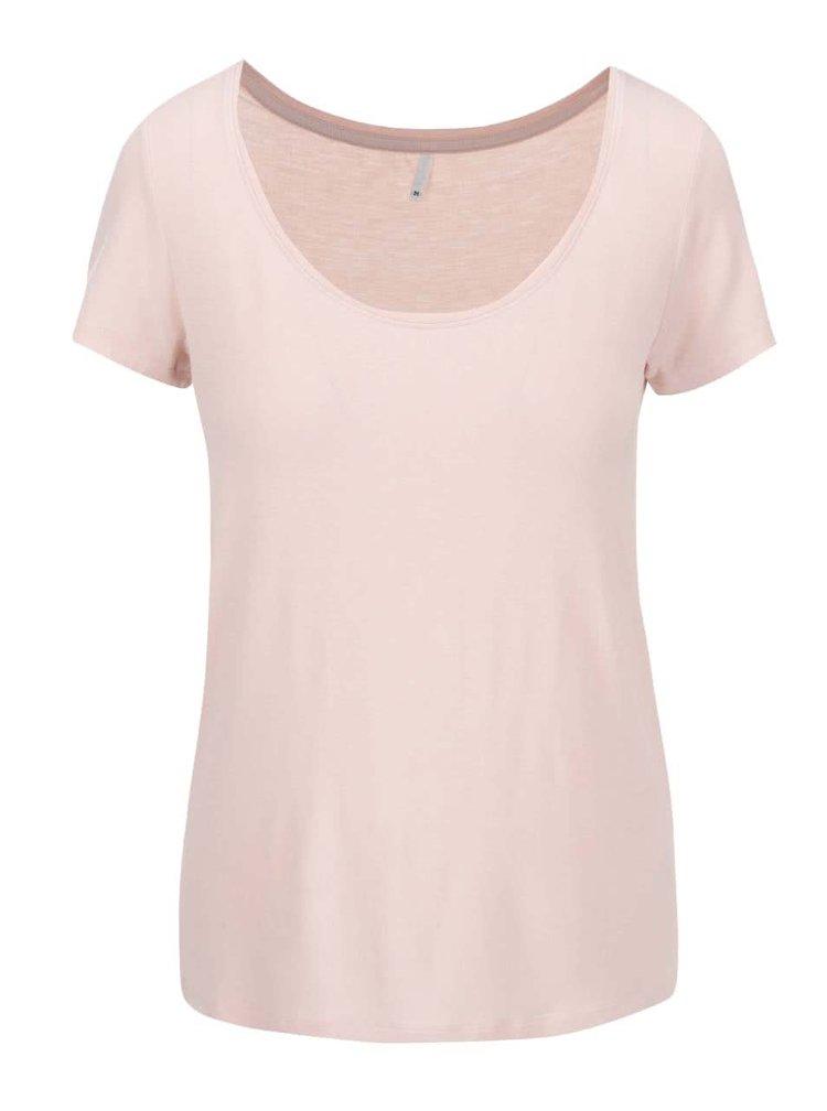 Svetloružové tričko s guľatým výstrihom ONLY Jewel