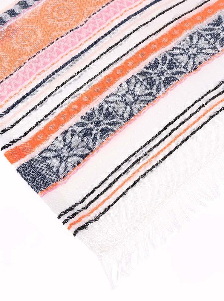 Krémový barevně pruhovaný šátek Pieces Thala