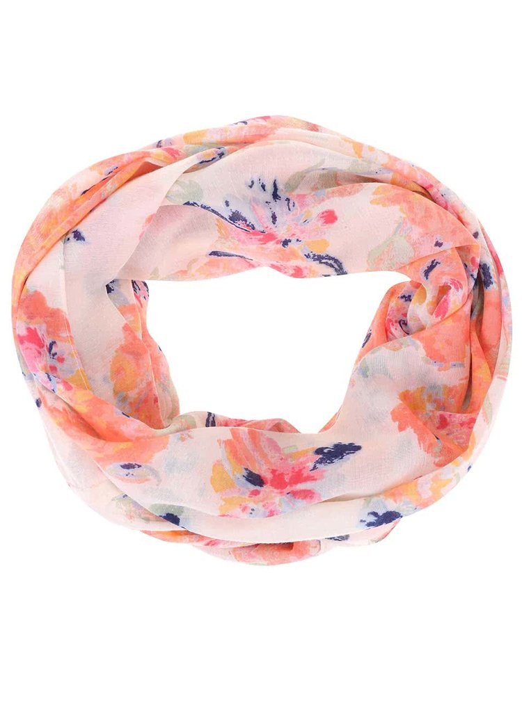 Esarfa circulara roz cu crem florala Pieces Tussi
