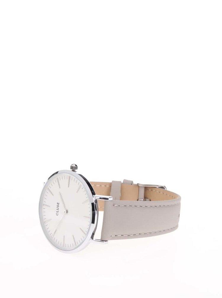 Bílo-šedé dámské hodinky s koženým páskem CLUSE La Bohème Silver