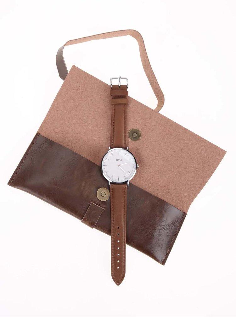 Dámské hodinky ve stříbrné barvě s hnědým koženým páskem CLUSE La Bohème Silver