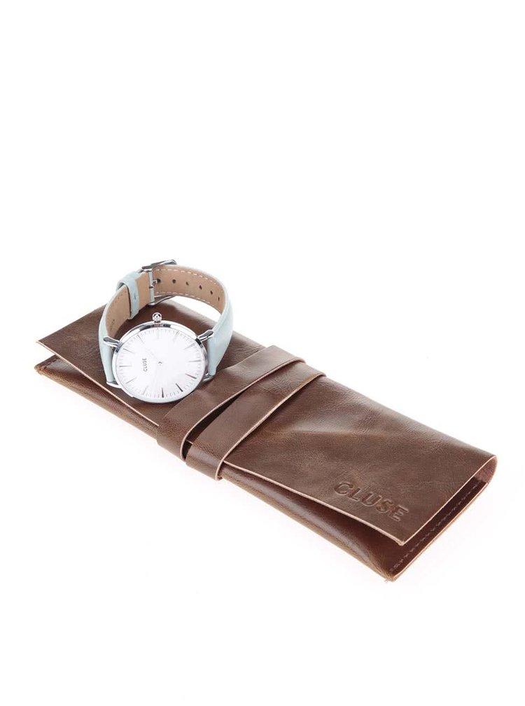 Dámské Hodinky ve stříbrné barvě s mentolovým koženým páskem Cluse La Bohème Silver