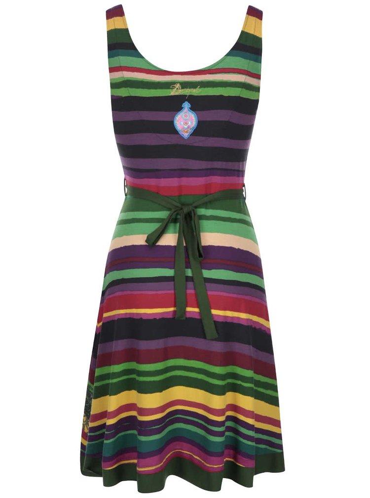 Rochie dungată verde cu mov cu fundă Desigual Judith