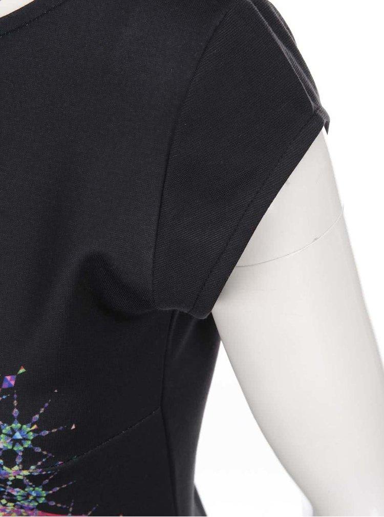 Rochie neagră cu imprimeu multicolor Desigual Bernadett
