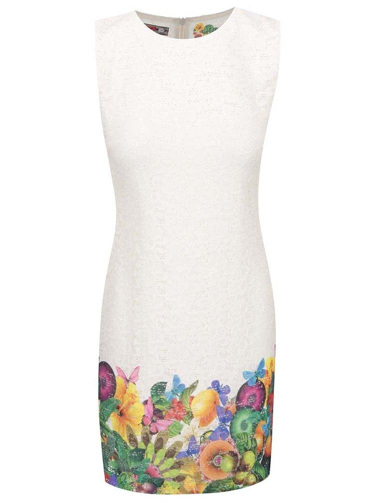 Krémové šaty s farebnými kvetmi a motýlikmi Desigual Guido
