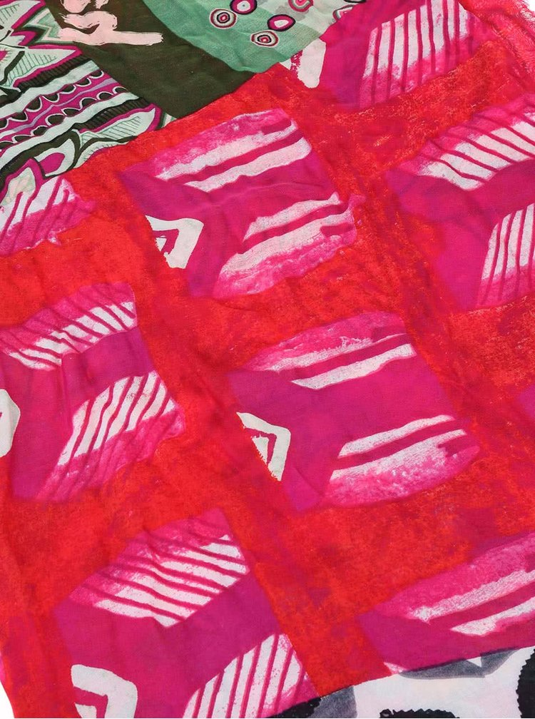 Zeleno-ružová vzorovaná šatka Desigual Fantasia