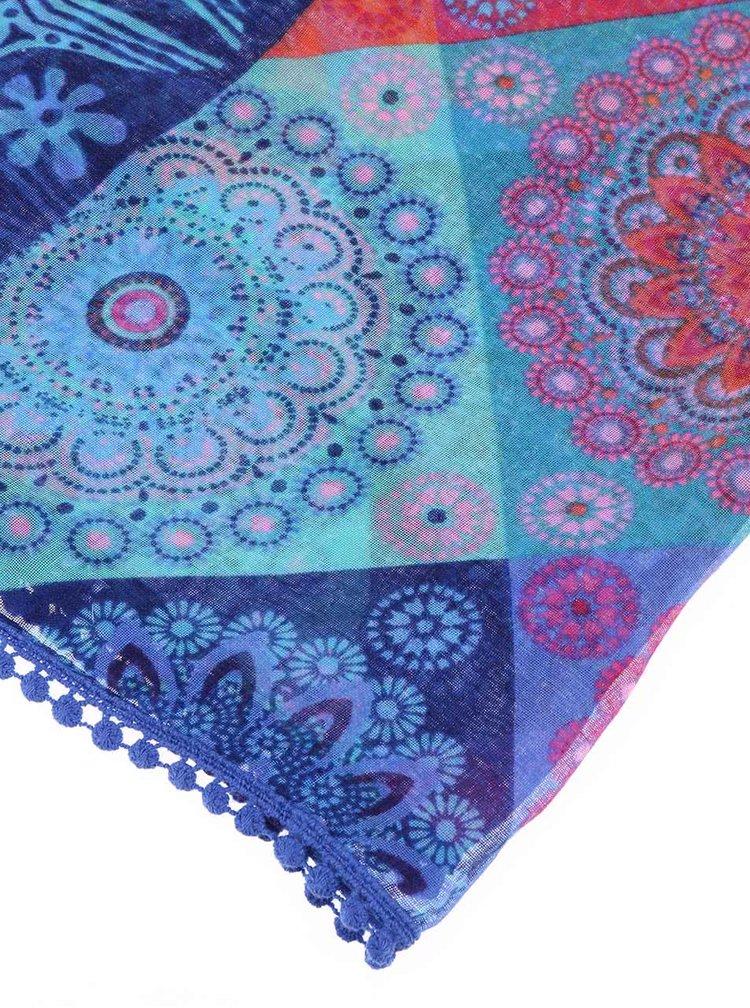 Modrý vzorovaný šátek Desigual Magic