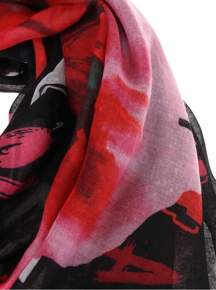 Eșarfă neagră cu imprimeu multicolor Desigual Rectangle Arty