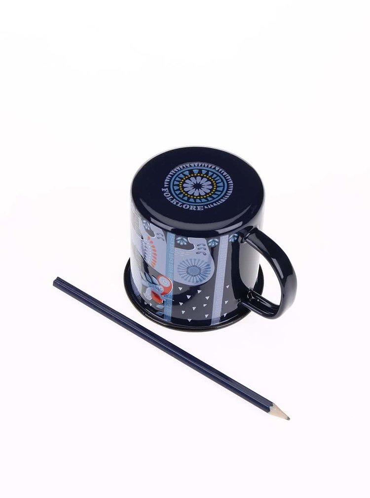 Modrý plechový hrnček s farebnou potlačou Folklore