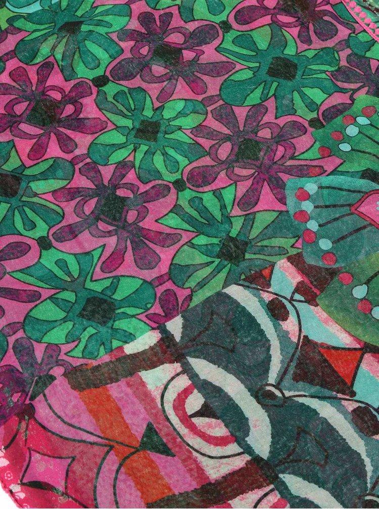 Ružovo-zelená vzorovaná šatka Desigual Purple Jungle