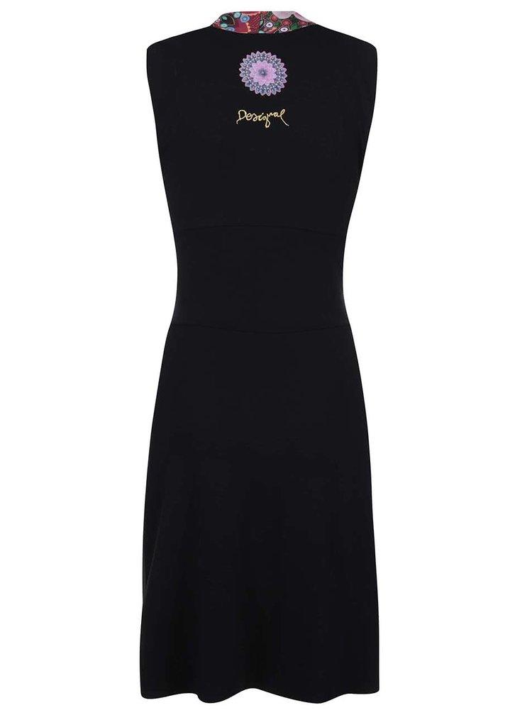 Rochie Desigual Cintia neagră cu model la guler