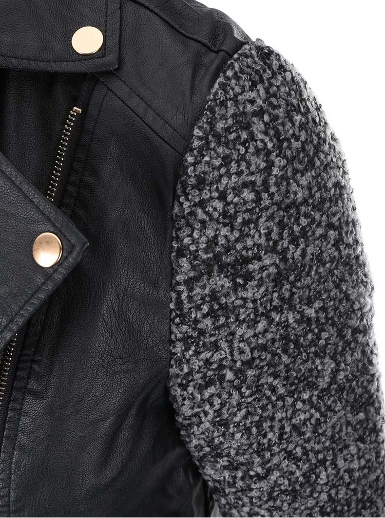 Černý koženkový křivák s šedými rukávy Haily´s Cecilia