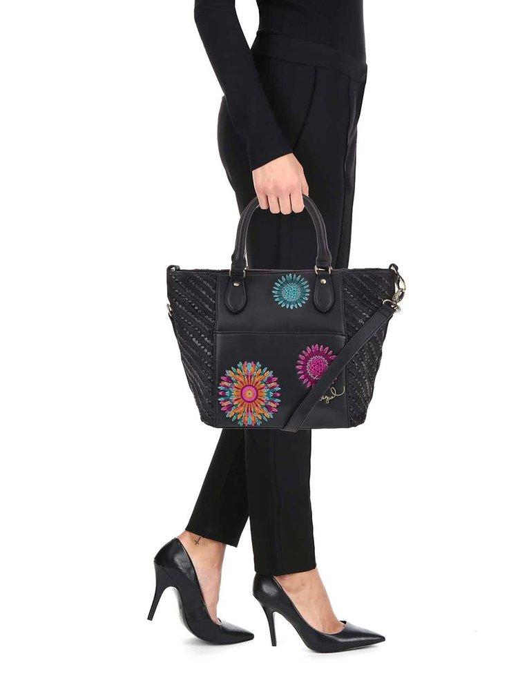 Černá kabelka s barevnými vzory Desigual Florida