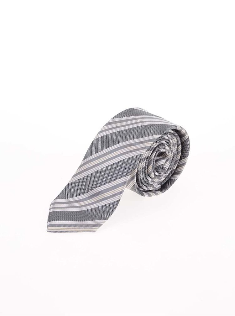 Cravata gri cu dungi Selected Homme Jonathan