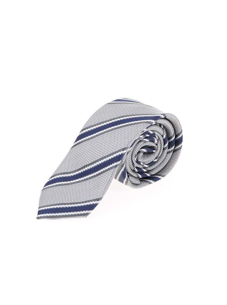 Šedá lesklá kravata s proužky Selected Homme Jonathan