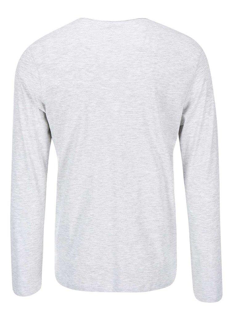 Šedé žíhané triko s dlouhým rukávem Selected Homme Florence