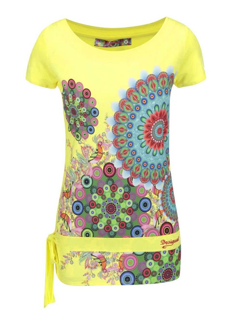 Žluté vzorované tričko Desigual Donna