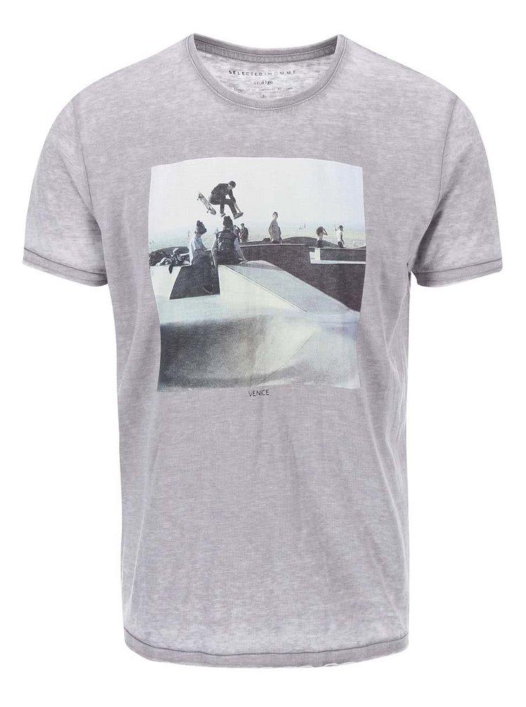 Tricou gri cu imprimeu Selected Homme London