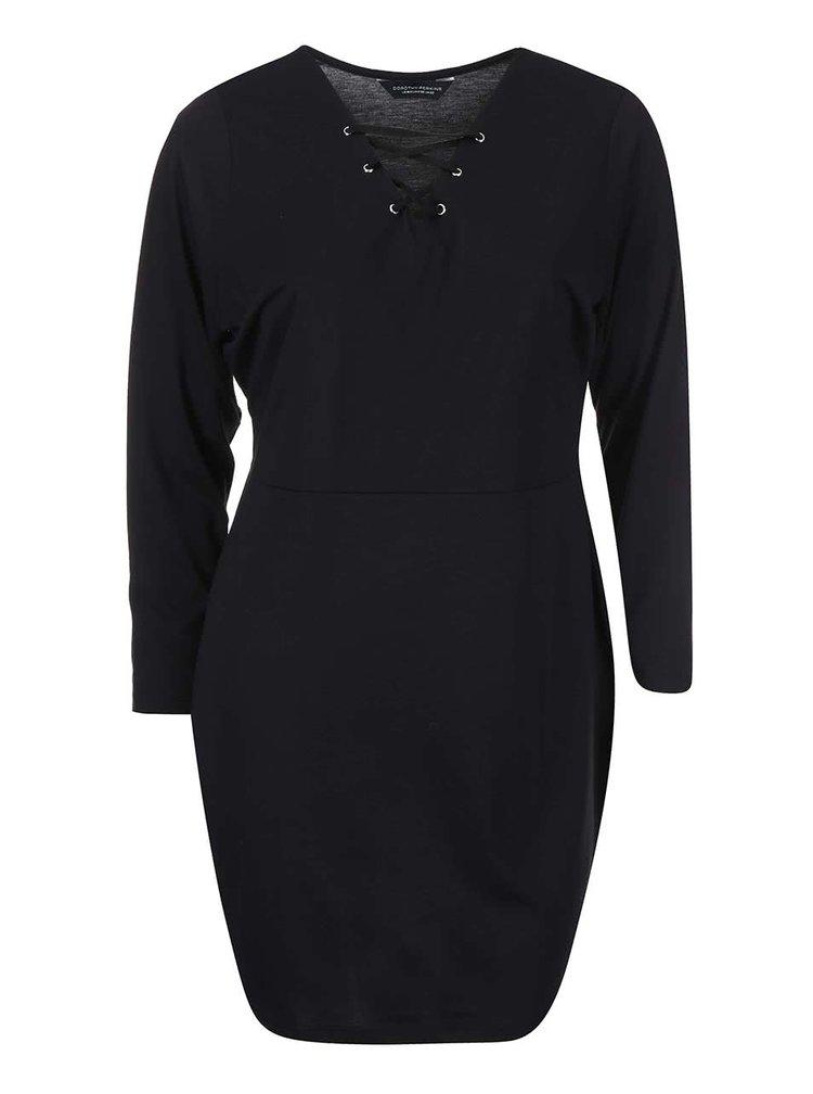 Černé šaty s ozdobným šněrováním Dorothy Perkins Curve