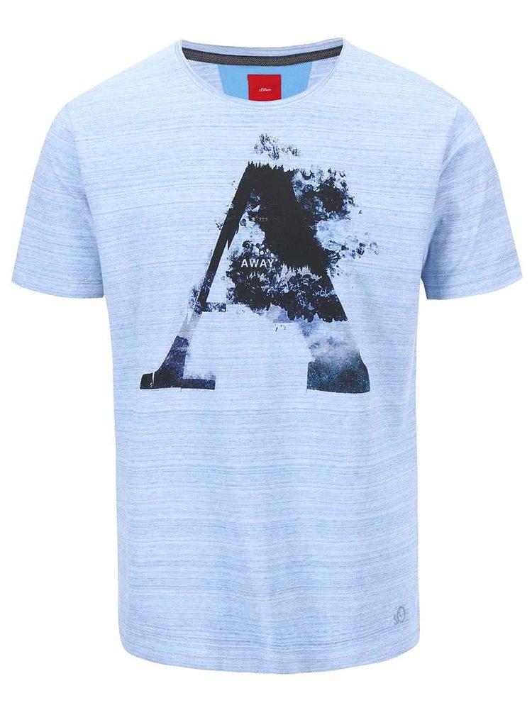 Čierno-modré pánske tričko s potlačou s.Oliver