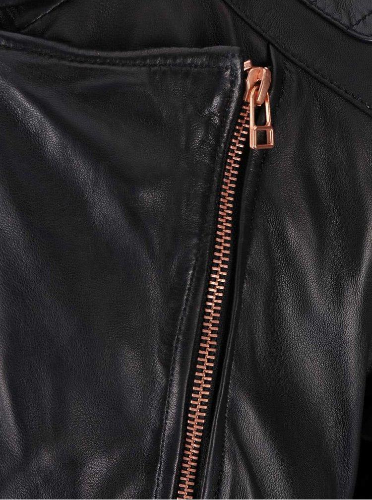 jacheta de dama din piele neagra cu fermoar asimetric s.Oliver