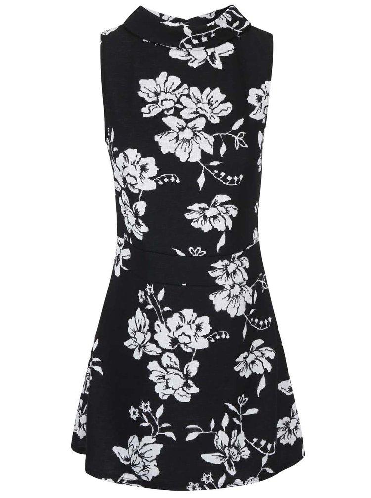 Černé šaty s potiskem bílých květů Dorothy Perkins