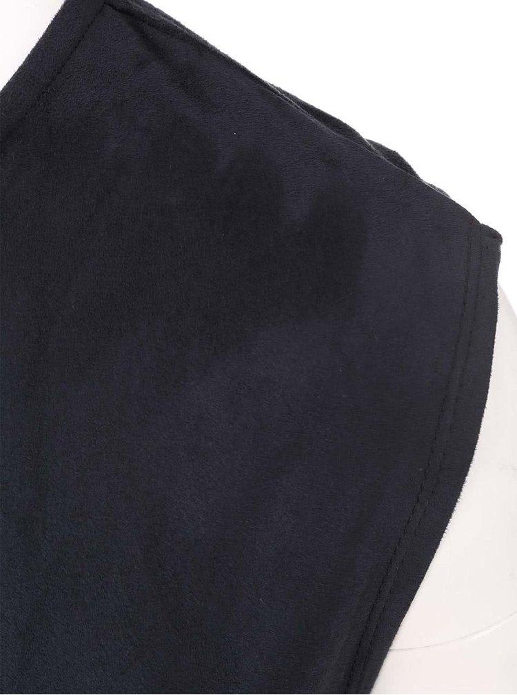 Černé šaty s řasením a semišovou úpravou Dorothy Perkins