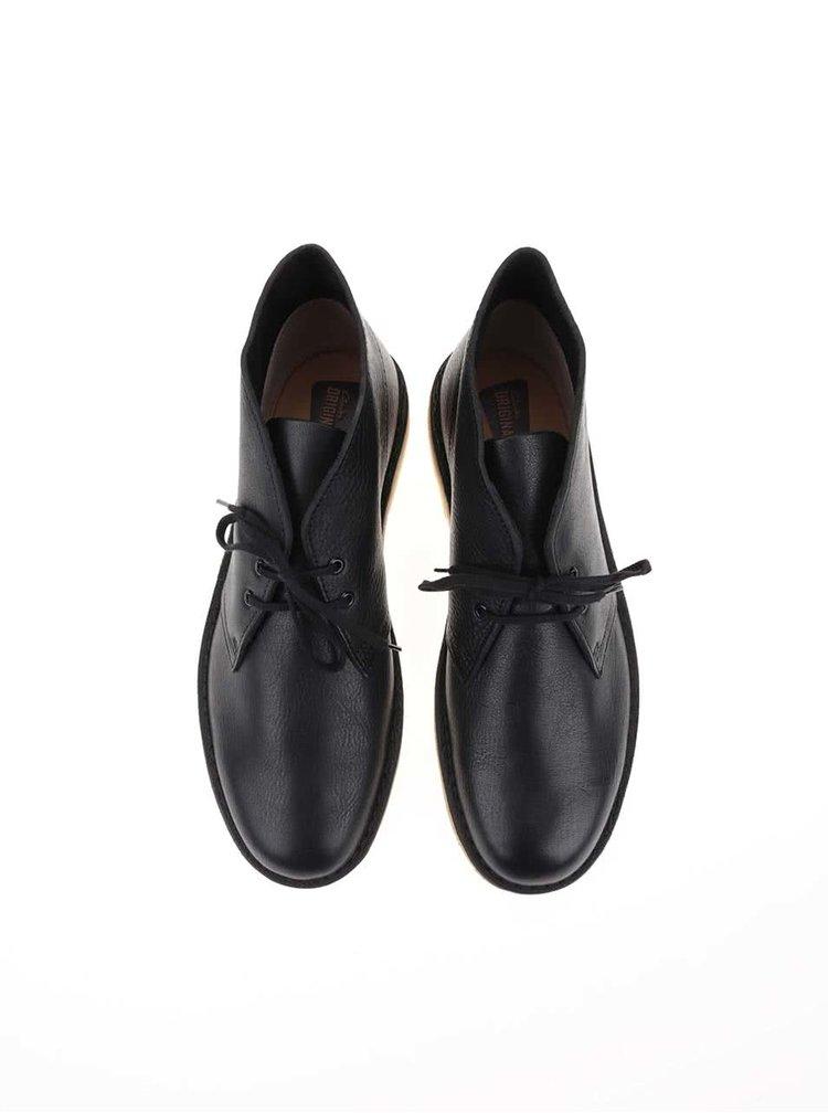 Čierne pánske kožené členkové topánky Clarks Desert Boot