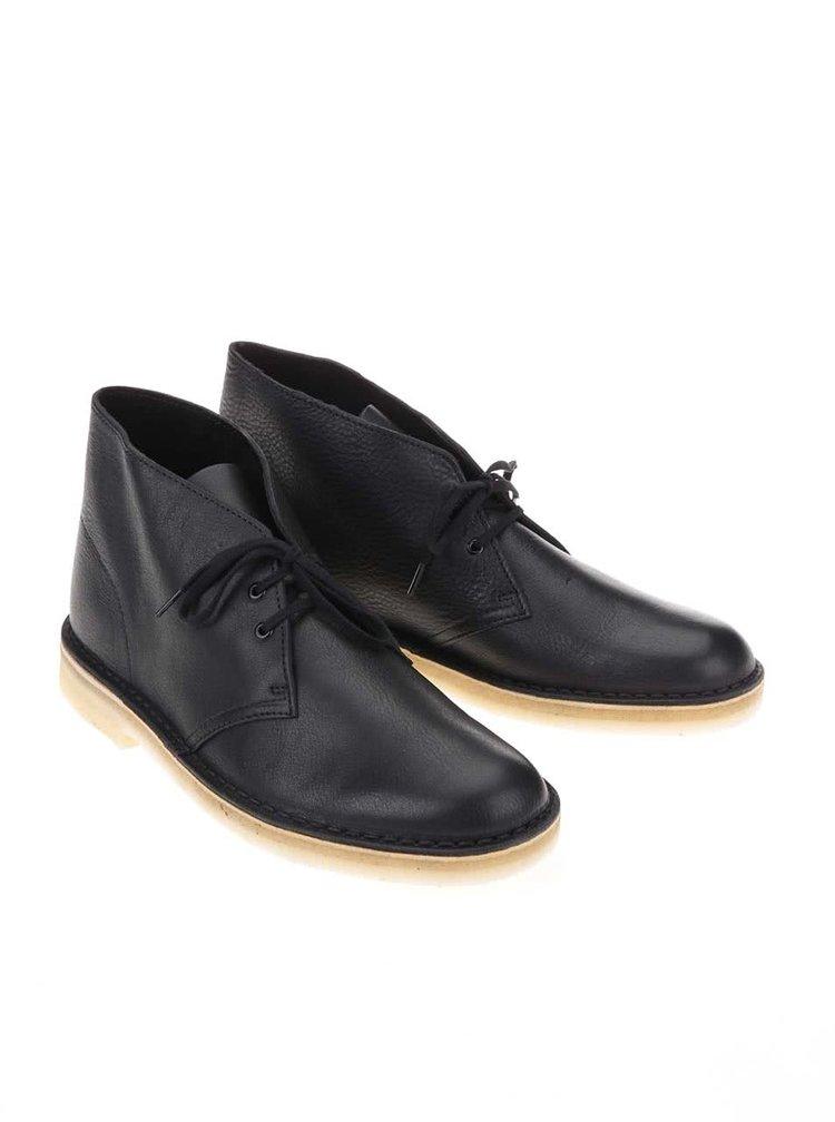 Černé pánské kožené kotníkové boty Clarks Desert Boot
