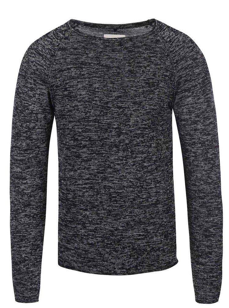 Čierny melírovaný tenší sveter Blend