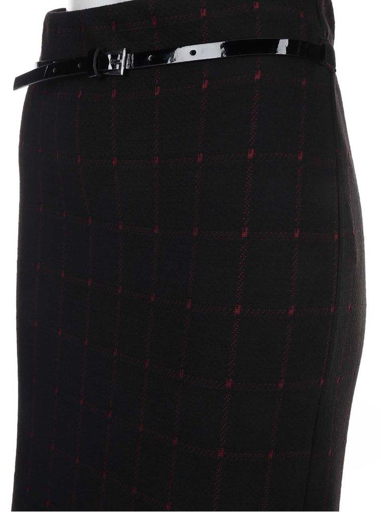 Černá sukně s vínovými detaily a úzkým páskem Dorothy Perkins