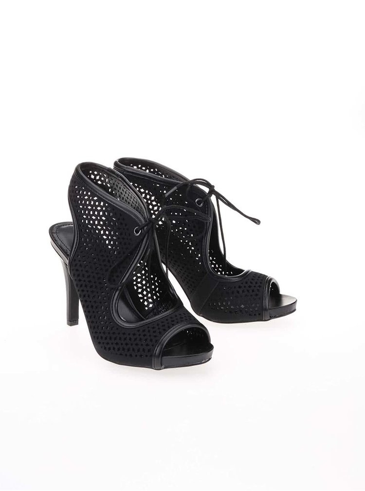 Černé perforované boty na podpatku Dorothy Perkins