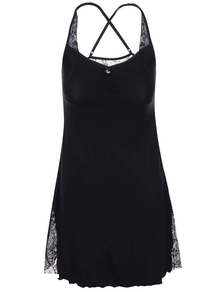 Černá noční košilka s krajkovanými detaily Eldar Ana