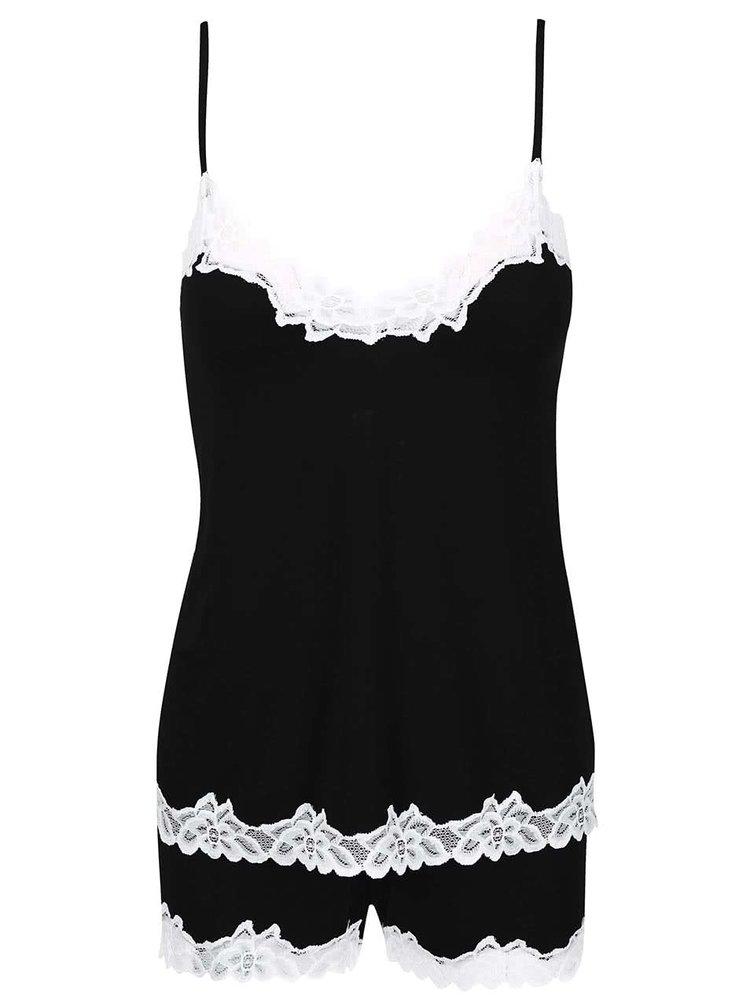 Černé pyžamo s bílou krajkou Eldar Aria