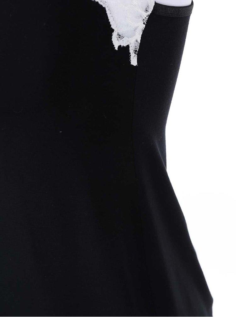 Pijamale negre cu dantelă albă Eldar Aria