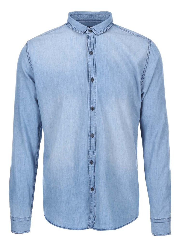 Camasa barbateasca albastra din denim ONLY & SONS Asp