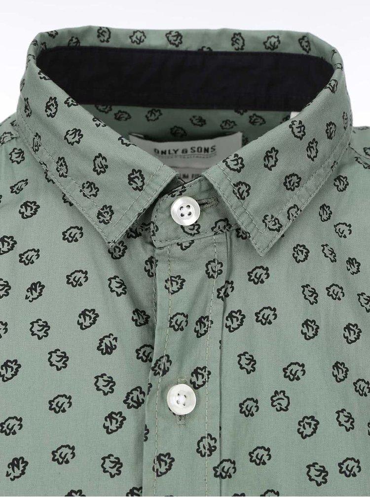 Tmavě zelená košile se vzorem ONLY & SONS Adnan