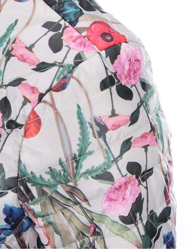 Sivá kvetovaná páperová bunda VERO MODA Fanna