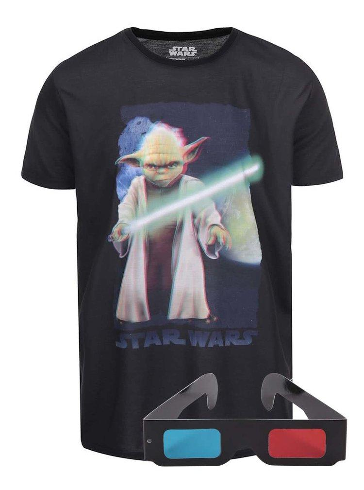 Čierne tričko s 3D potlačou Yoda Freegun